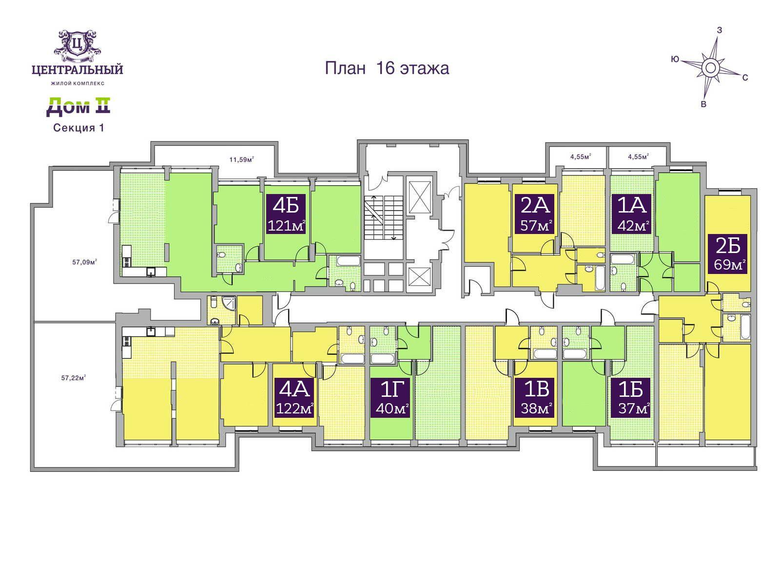 Дом 2. Секция 1. 16 этаж