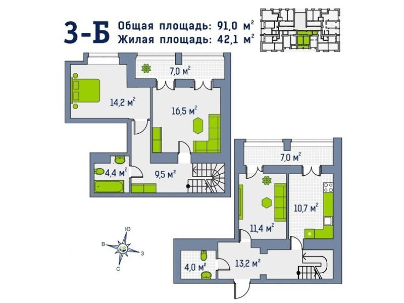 Квартира в доме Гамма. Первый взнос 30690 уе!