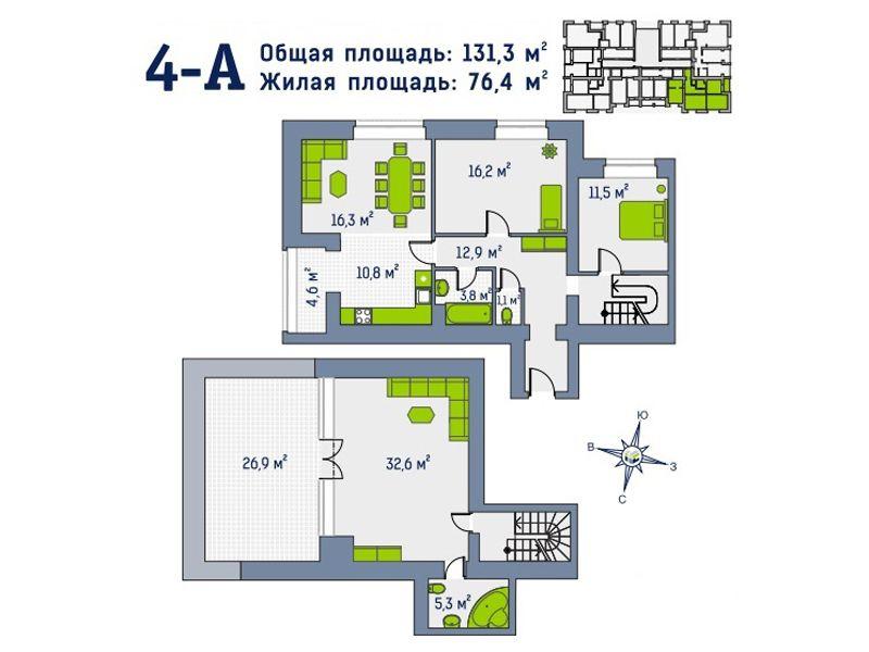 Квартира №74, в доме Гамма. Первый взнос 44135 уе!