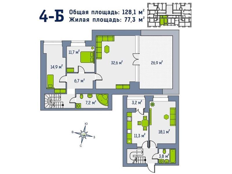 Квартира №76, в доме Гамма. Первый взнос 39840 уе!